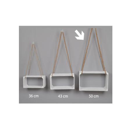 Διακοσμητικό κρεμαστό καφάσι - ράφι Λευκό 50x22x32cm