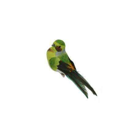 Διακοσμητικό Ανοιξιάτικο πουλάκι με κλιπ Πράσινο 12cm