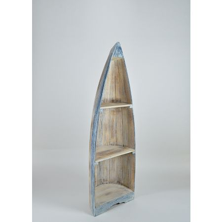 Διακοσμητική ραφιέρα βάρκα, Φυσικό - Γαλάζιο 140x40x30cm