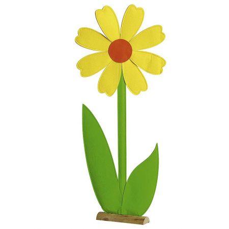 Μαργαρίτα από τσόχα σε ξύλινη βάση Κίτρινη - Πράσινη 50x120cm