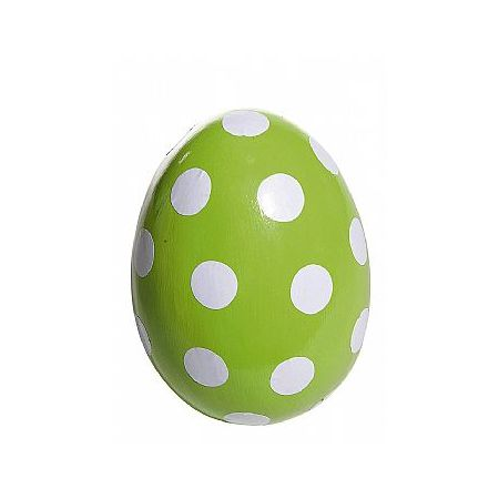 Πασχαλινό αυγό πουά πράσινο - λευκό 18cm