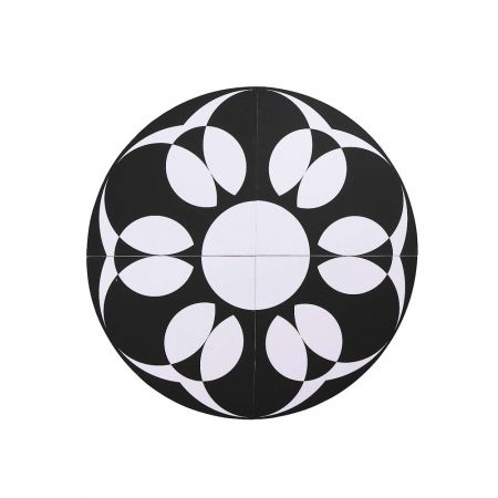 Σετ 4τχ τεταρτημόρια που δημιουργούν μοτίβο Mandala Ασπρόμαυρο 90cm