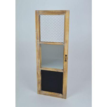 Διακοσμητικό Vintage παντζούρι ξύλινο με καθρέπτη και μαυροπίνακα Φυσικό 97x35cm