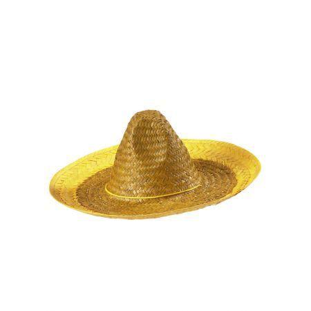 Ψάθινο καπέλο Sombrero Κίτρινο 48cm