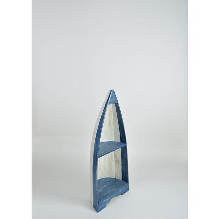 Διακοσμητική ραφιέρα βάρκα Μπλε - Λευκή 100cm