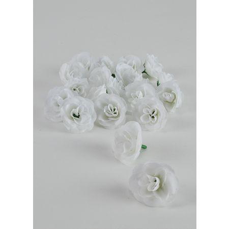 Σετ 20τχ Διακοσμητικά άνθη τριαντάφυλλου Λευκά 4,5cm