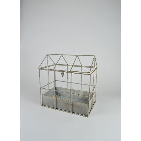 Διακοσμητικό κλουβί - σπιτάκι μεταλλικό 34x21x35cm