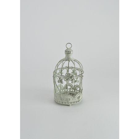 Διακοσμητικό μεταλλικό κλουβί Λευκό αντικέ 10x19cm