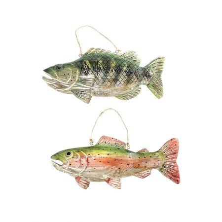 Σετ 2τχ τροπικά ξύλινα ψάρια Κόκκινο - Πράσινο 32cm