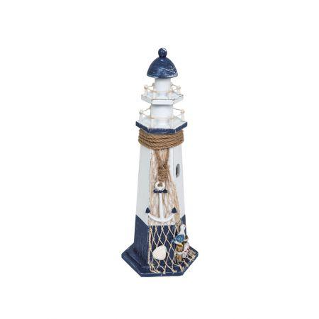 Διακοσμητικός φάρος με σχοινί και δίχτυ Μπλε - Λευκό 37x18cm