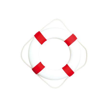 Διακοσμητικό σωσίβιο καραβιού Λευκό - Κόκκινο 50cm