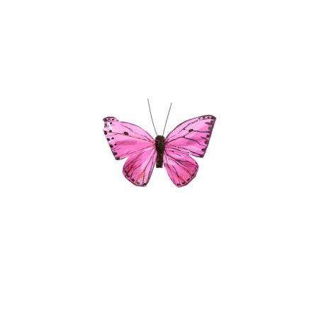 Διακοσμητική πεταλούδα με κλιπ Λιλά 10cm