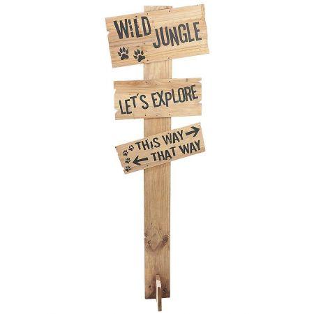 Διακοσμητική ξύλινη ταμπέλα - πινακίδα Ζούγκλας 160cm