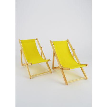 Σετ 2τχ Διακοσμητικές καρέκλες παραλίας mini για βιτρίνα Κίτρινο 22x14x20cm