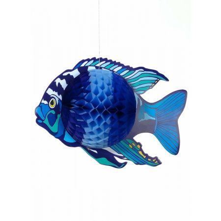 Διακοσμητικό κρεμαστό Τροπικό Ψάρι Μπλε 38x28cm