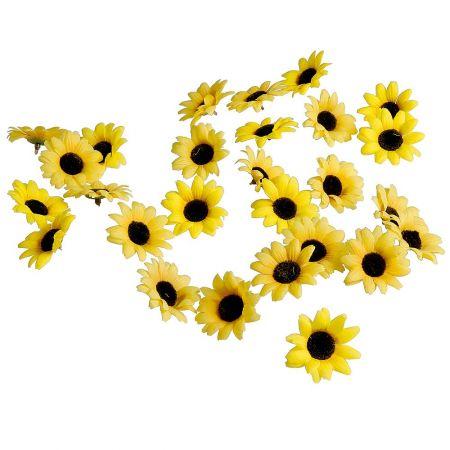 Σετ 24τχ μικρά διακοσμητικά άνθη Ηλίανθου 7cm