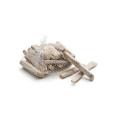 Σετ 500gr Διακοσμητικά κομμάτια ξύλου Λευκό 10cm