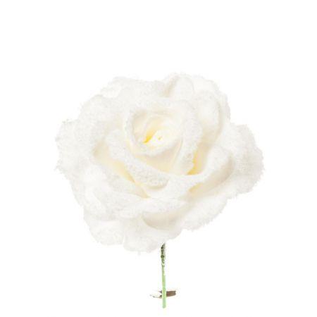 Χριστουγεννιάτικο τριαντάφυλλο χιονισμένο Λευκό 23cm