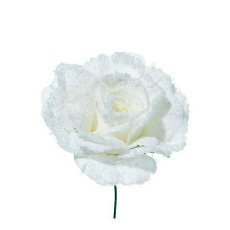 Χριστουγεννιάτικο τριαντάφυλλο χιονισμένο Λευκό 17cm