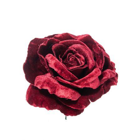 Βελούδινο τριαντάφυλλο deluxe Μπορντό 17cm