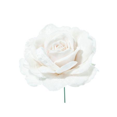 Χριστουγεννιάτικο τριαντάφυλλο deluxe Λευκό 17cm