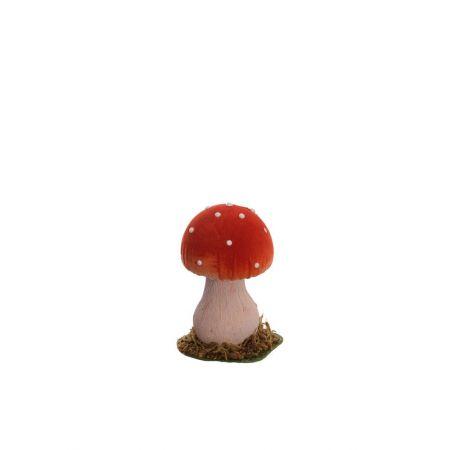 Διακοσμητικό μανιτάρι μονό Κόκκινο - Μπεζ 13cm
