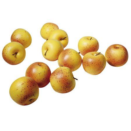 Σετ 12 τμχ Διακοσμητικά μήλα Κίτρινο - Κόκκινο 7,5 cm