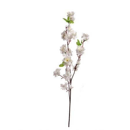 Διακοσμητικό κλαδί με άνθη αμυγδαλιάς Κρέμ , 66cm