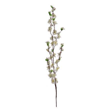Διακοσμητικό κλαδί με άνθη αμυγδαλιάς Κρέμ , 120cm