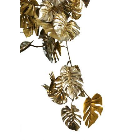 Διακοσμητική γιρλάντα κλαδί με φύλλα Μονστέρα Χρυσή 94cm