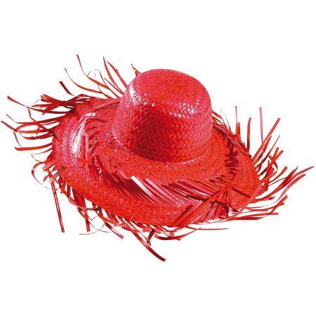 Διακοσμητικό ψάθινο καπέλο Κόκκινο 40cm