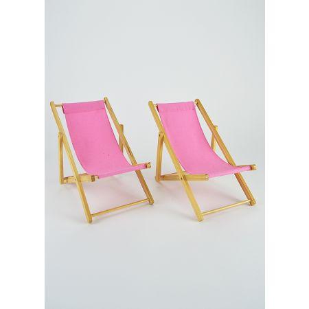 Σετ 2τχ Διακοσμητικές καρέκλες παραλίας mini για βιτρίνα Ρόζ 22x14x20cm