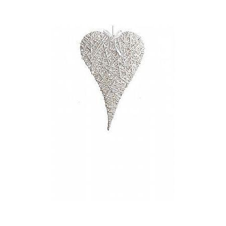 Διακοσμητική κρεμαστή καρδιά ψάθινη bamboo λευκή 14x20cm