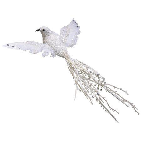 Διακοσμητικό πουλί με πέρλες και glitter Λευκό 44cm
