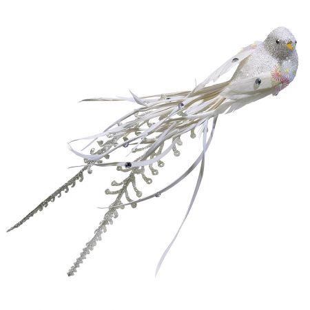 Διακοσμητικό πουλί λευκό με χρυσόσκονη και πέρλες, 38 cm