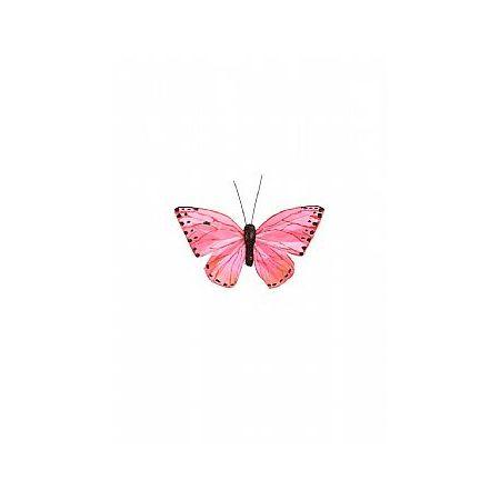 Διακοσμητική πεταλούδα με κλιπ Ροζ 10cm