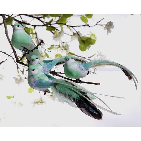 Σετ 4τχ διακοσμητικά πτηνά με μακριά ουρά, Πράσινο μέντας 20cm