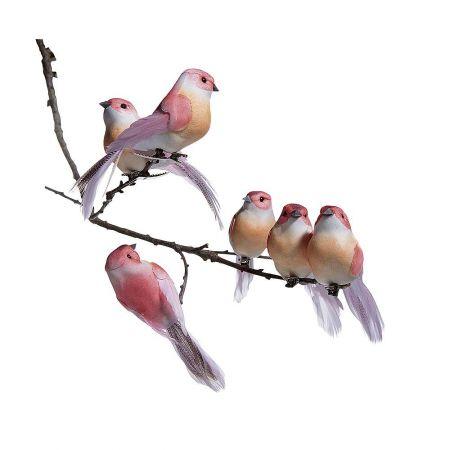 Σετ 6τμχ Διακοσμητικά πουλάκια Ρόζ, 10cm