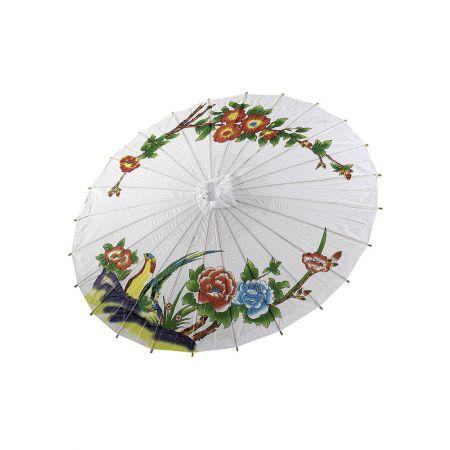 Διακοσμητική ομπρέλα χάρτινη Λευκή με λουλούδια , 86cm