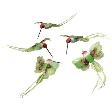Σετ 5τμχ. Διακοσμητικά πουλάκια Πράσινο, 16cm