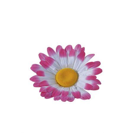 XL Διακοσμητικό άνθος μαργαρίτας Λευκό - Ροζ 55cm