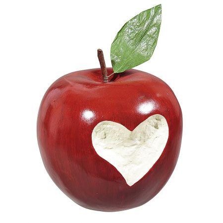 XL Διακοσμητικό μήλο κόκκινο με σκάλισμα καρδιάς 20cm