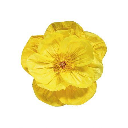 XL Διακοσμητικό χάρτινο άνθος Κίτρινο 45cm