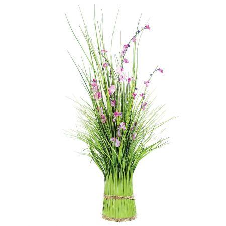 Διακοσμητικό γρασίδι με λουλούδια Πράσινο - Ροζ 90cm