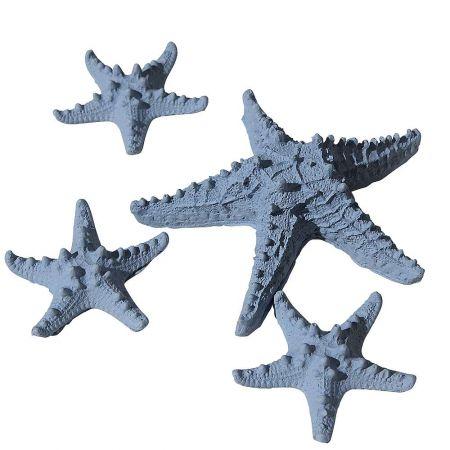 Σετ 4τχ Διακοσμητικοί αστερίες Γαλάζιο 12cm, 6cm