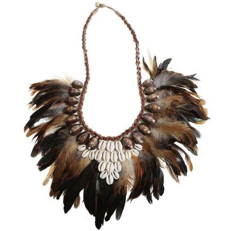 Χειροποίητο κολιέ -Papua- με φτερά και κοχύλια 52cm