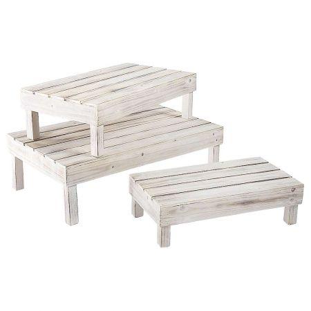 Σετ 3τχ Τραπεζάκια βιτρίνας ξύλινα σε 3 διαστάσεις 13x45x24cm 16x53x30cm 19x62x36cm