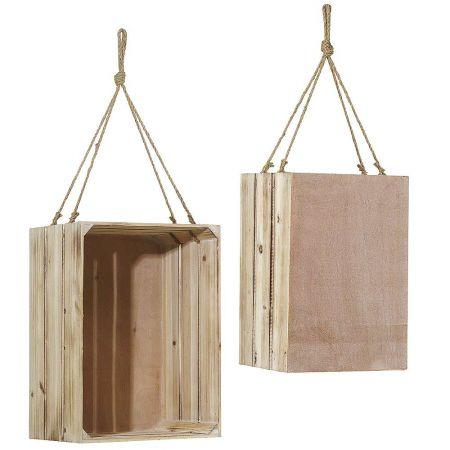 Σετ 2τχ Διακοσμητικά κουτιά - καφάσια κρεμαστά 43x30x23cm 48x36x26cm