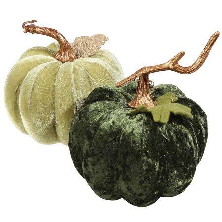 Σετ 2τχ βελούδινες κολοκύθες Πράσινες 15cm