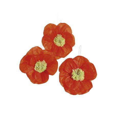 Σετ 3τχμ Διακοσμητικά άνθη Πορτοκαλί 20cm